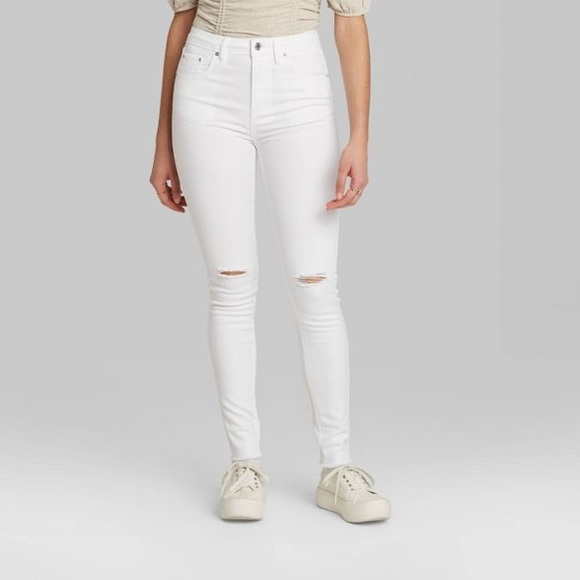wild fable Denim - Wild Fable High Rise Distressed White Skinnies